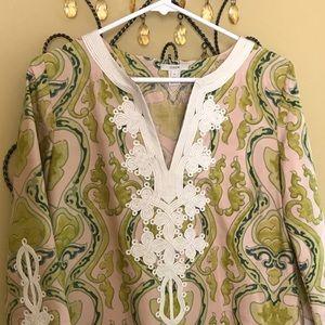J CREW Size 4, Light Pink/Lime Print Silk Tunic